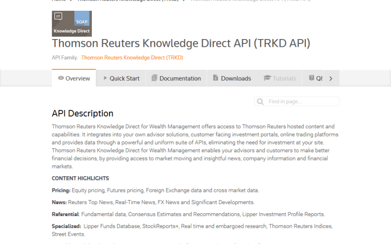 Thomson Reuters Knowledge Direct (TRKD) API