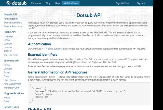 Dotsub API