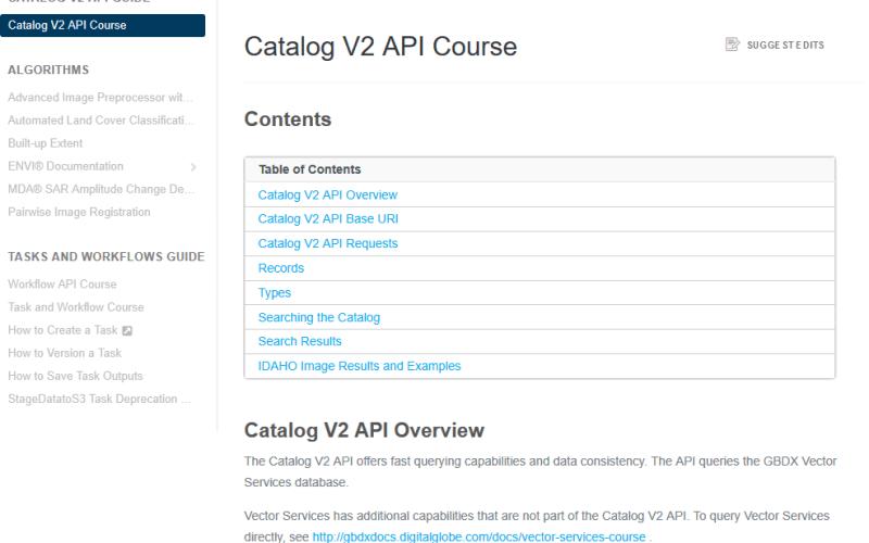 DigitalGlobe GBDX Catalog API