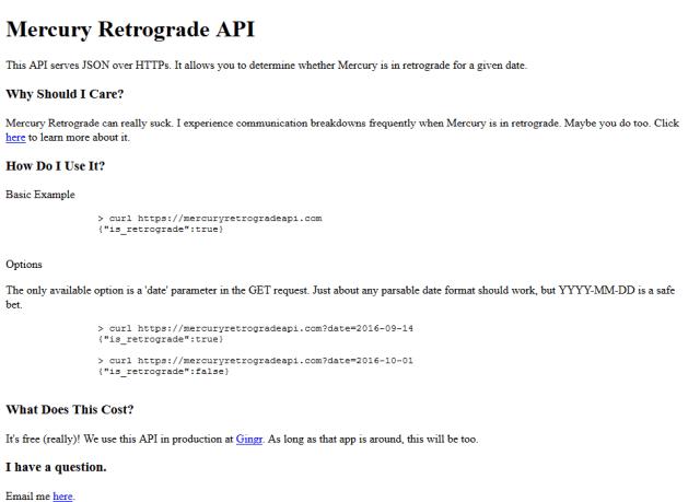 Mercury Retrograde API