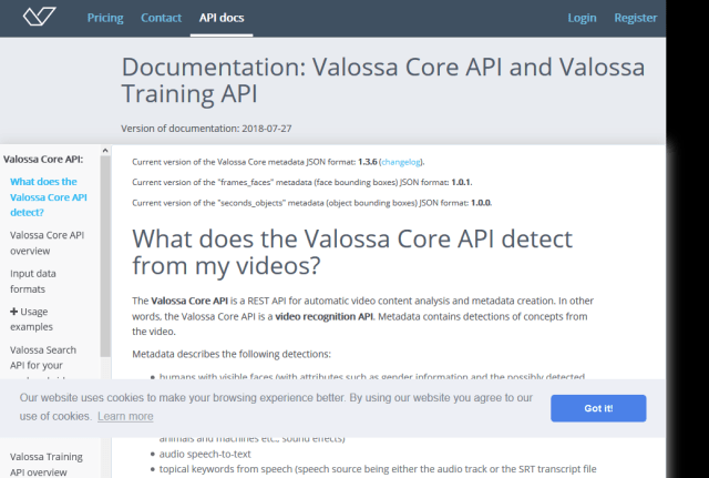 Valossa Core API