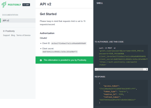 Positionly API