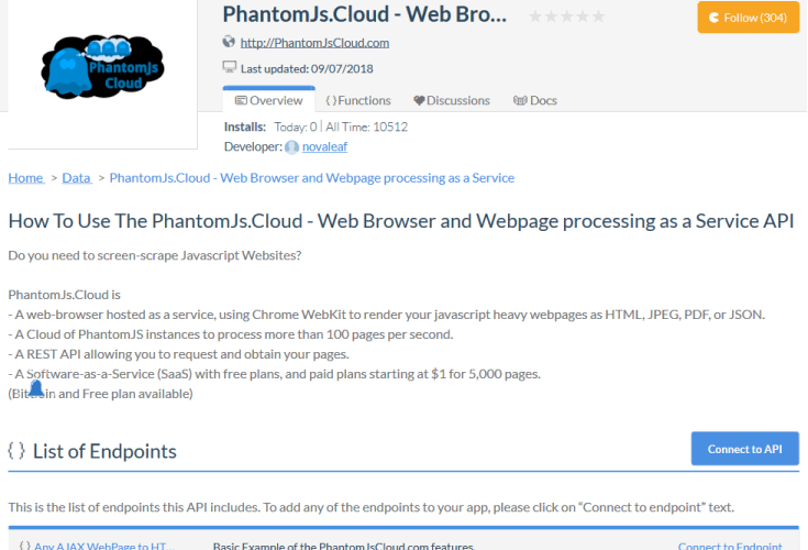 PhantomJs Cloud API