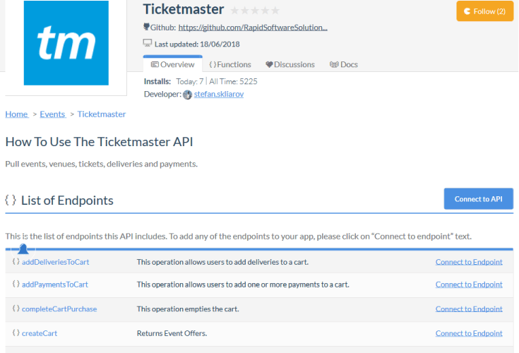 Ticketmaster Top Picks API
