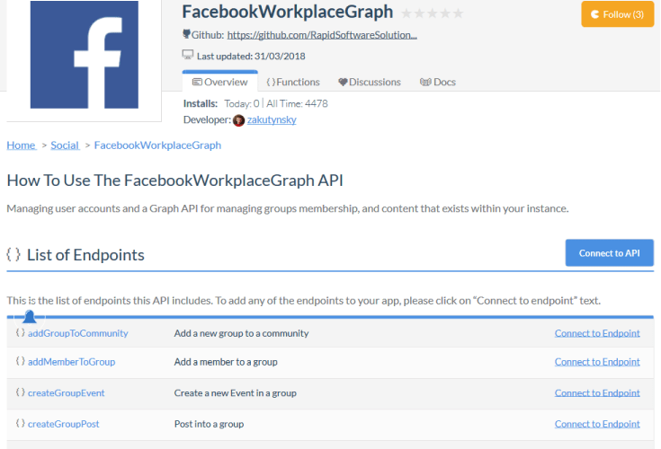 Facebook Workplace Authentication API