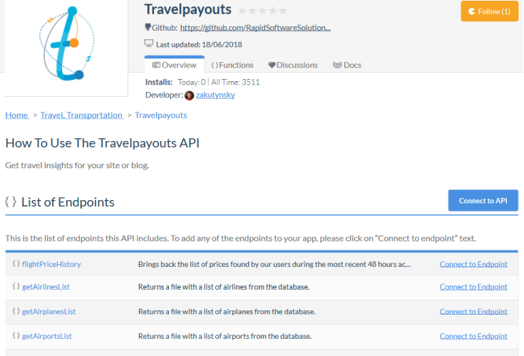 Travelpayouts Price Map API