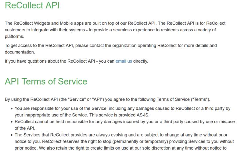 Recollect API