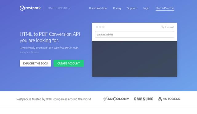 Restpack Html To Pdf API