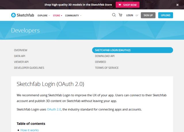 Sketchfab Login API