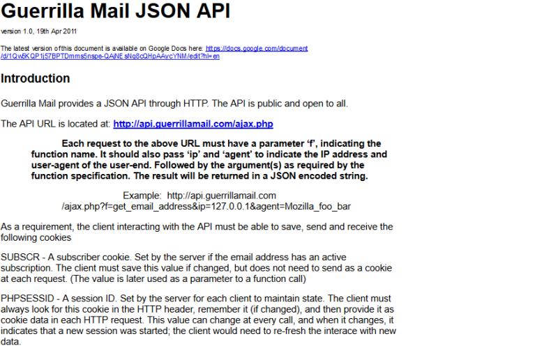 Guerrilla Mail API