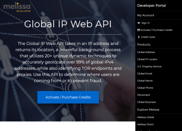 Melissa Cloud Global Ip Locator API