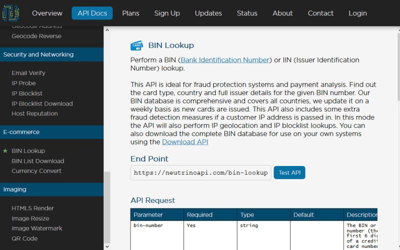 Neutrino Bin Lookup API