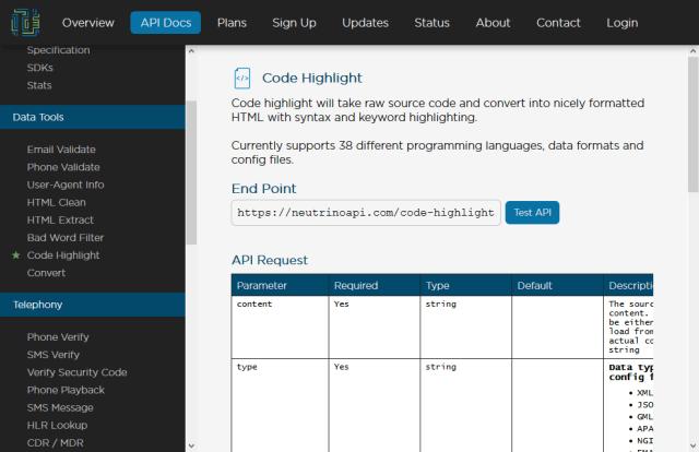 Neutrino Code Highlight API