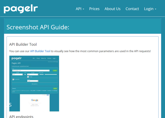 Pagelr Screenshot Service API