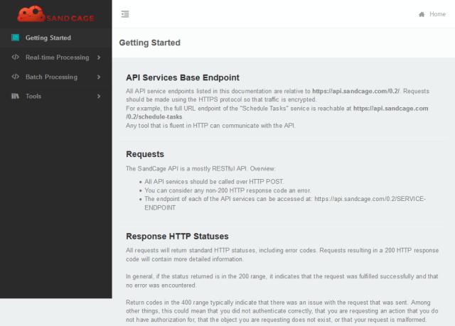 Sandcage API