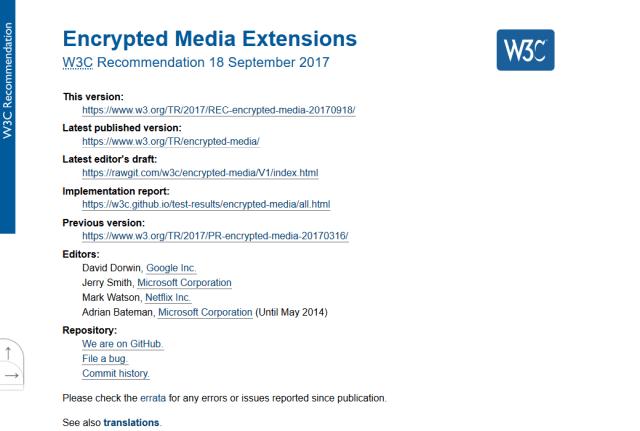 W3C Encrypted Media Extensions API