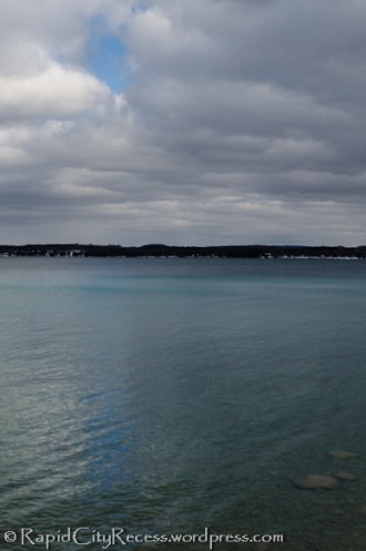 Spot of blue reflecting off Torch Lake