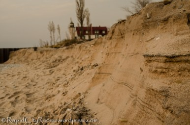 Sand wall - likely thanks to Sandy's passage - and Pt Betsie Lighthouse