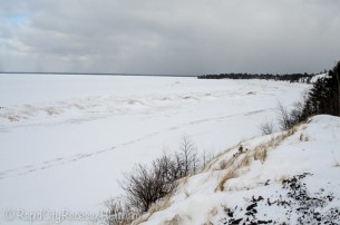 Layers of snow and ice on Lake Superior
