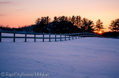 Stone Gate Farm - rolling fence sunset