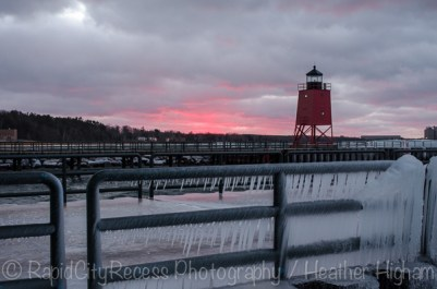 Charlevoix lighthouse at sunset