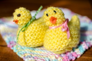 Hand-knit Easter cuties, from Melinda's mom