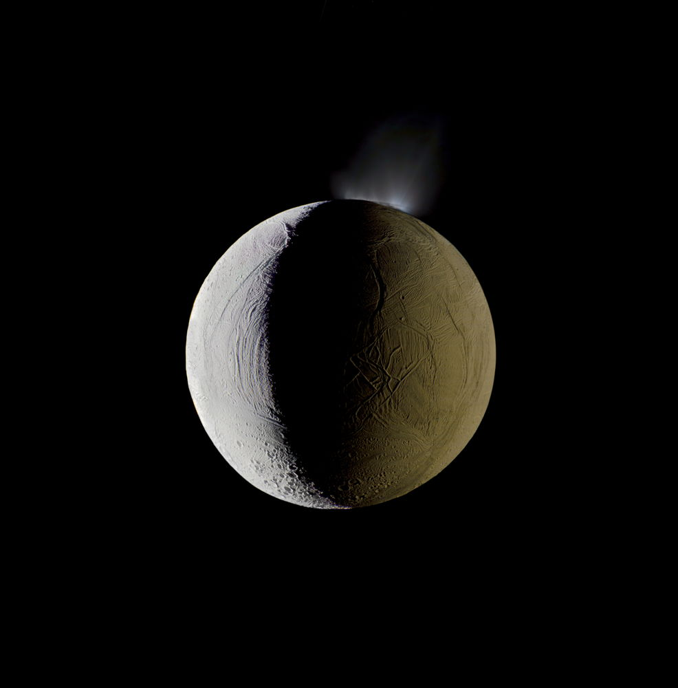 Enceladus vents water into space from its south polar region