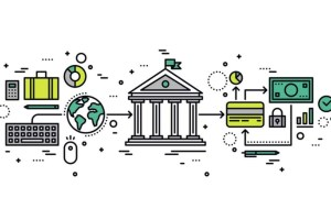 Banking transaction line style illustration
