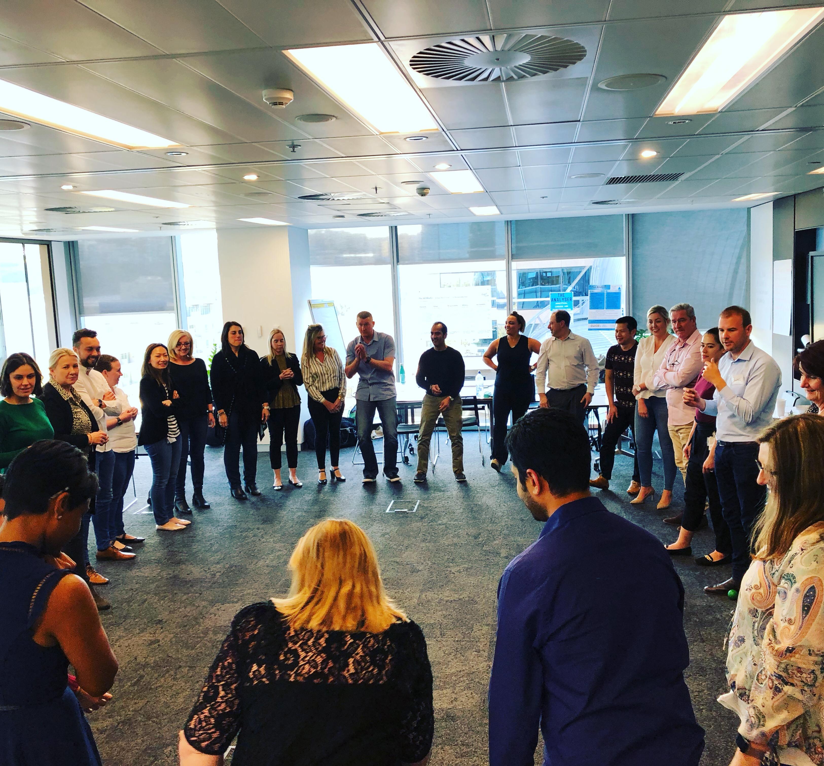 Team building indoors in Perth
