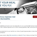 Delta BusinessElite to Toyko Japanese meal: preorder!