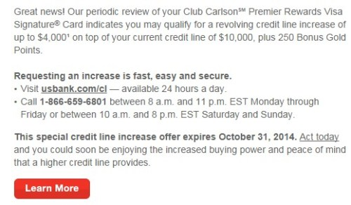 US Bank Club Carlson Credit Increase 01