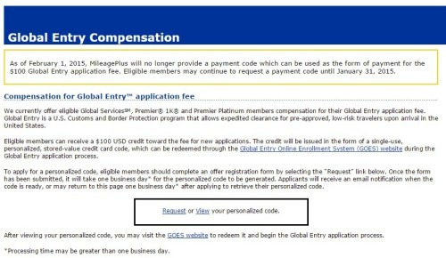 United Global Entry Voucher