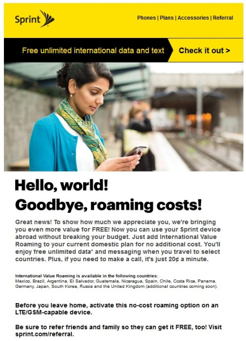 Sprint Value International Roaming