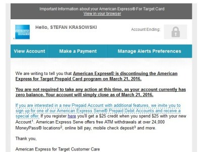 Amex for Target End