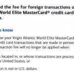 BofA Virgin Atlantic MasterCard Drops Foreign Transaction Fee