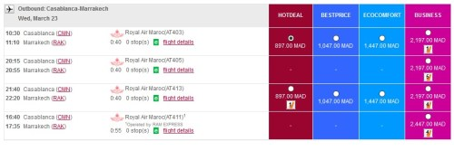 Royal Air Maroc Domestic Site Prices