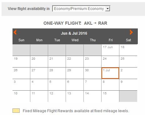 Air New Zealand AKL-RAR Economy