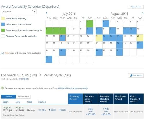 Air New Zealand LAX-AKL July 2016