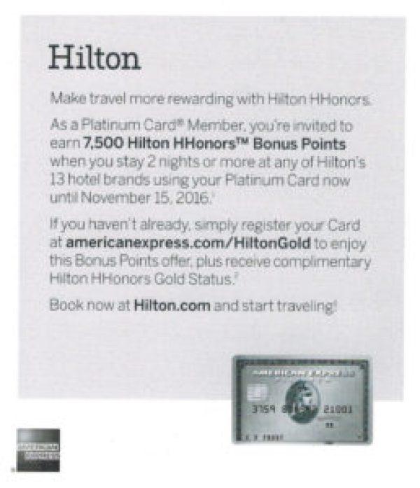 Amex Platinum Hilton 7500 offer