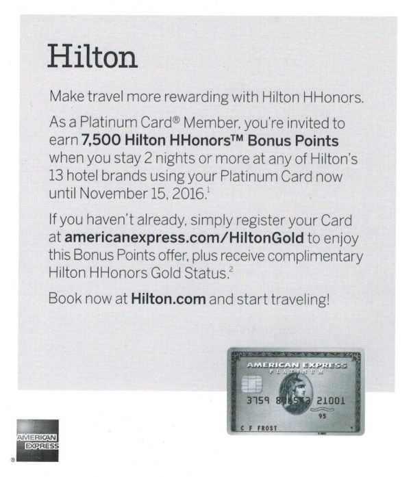 Amex Platinum Hilton 7500 offer