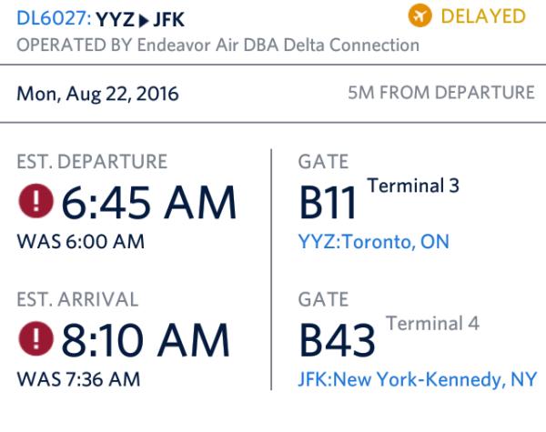 Delta App YYZ Status