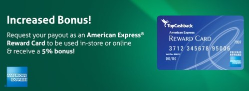 TopCashBack Payout Amex Gift Card August 2016