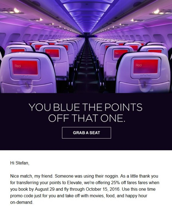 Virgin America Nice Move Blue