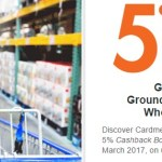 Activate Discover Jan-Mar 2017 5% Cashback: Wholesale Clubs, Gas Stations and Ground Transportation