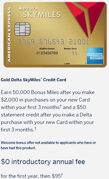 Amex Delta Gold Personal 50k