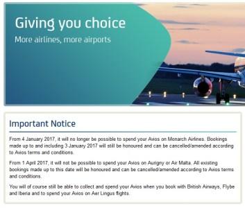 Avios Monarch Air Malta Air Aurigny