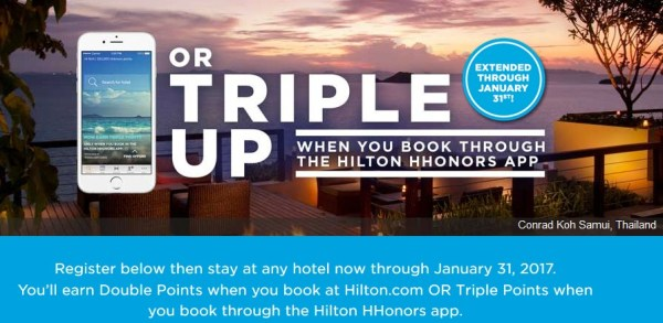 Hilton Triple Up Extended Janaury 2017