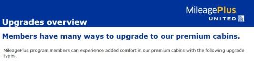United MileagePlus Upgrades