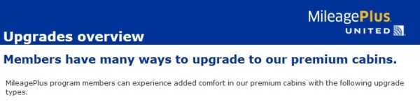 United MileagePlus Upgrades