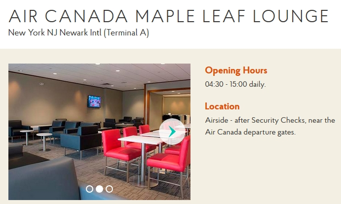Air Canada Maple Leaf Lounge Newark